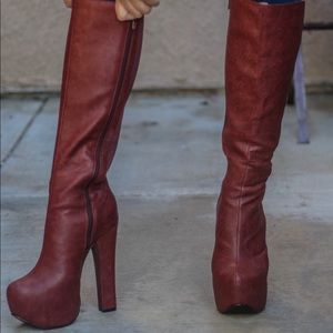 Shoes - Knee high wine boots perfect for fall